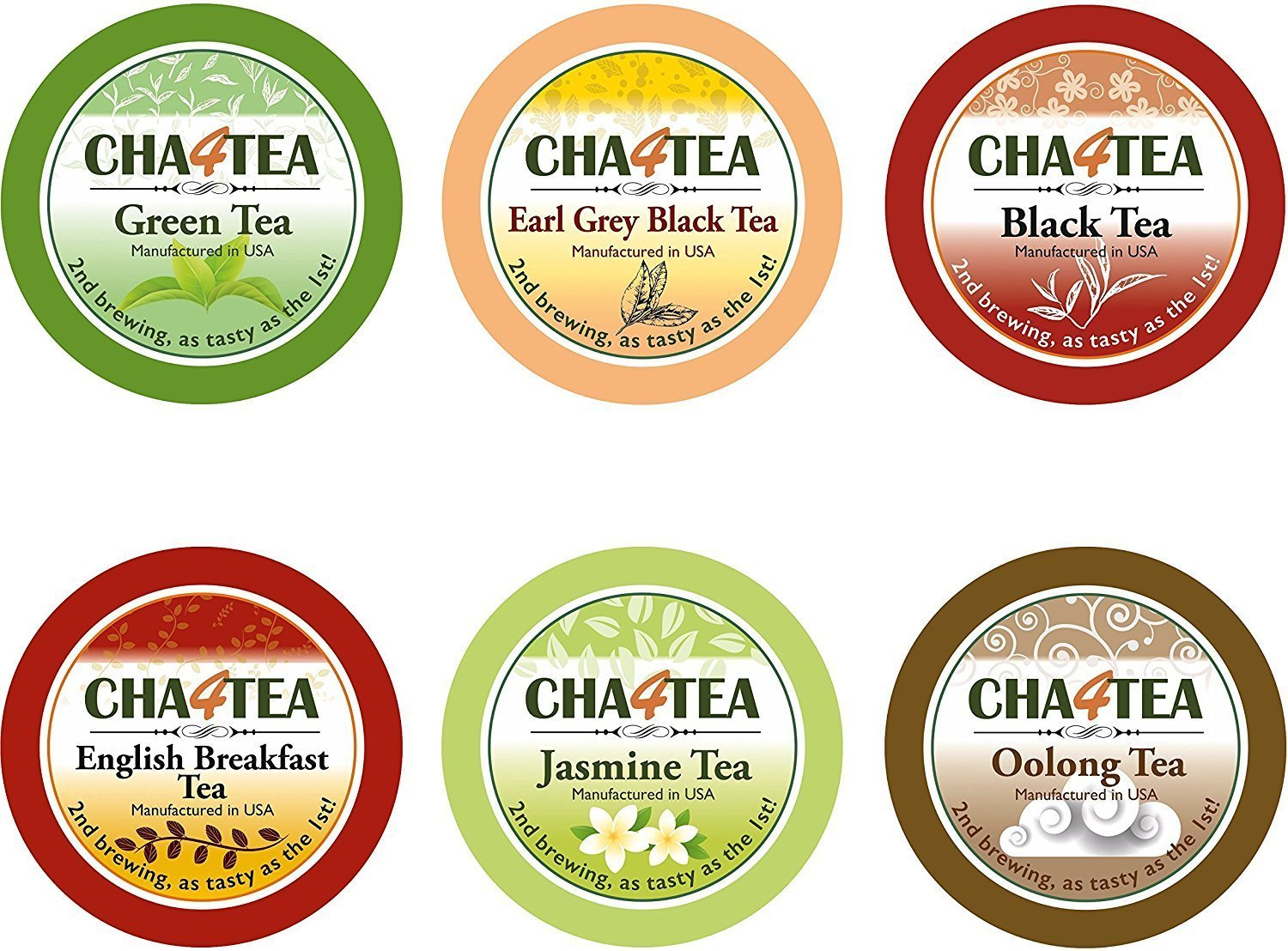 Cha4TEA 36-Count Variety Tea Sampler Pack for Keurig K-Cup Brewers, Multiple Flavors (Green Tea, Black Tea, Jasmine, Earl Grey, Oolong Green Tea, English Breakfast)