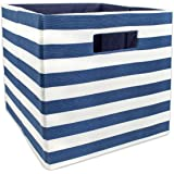 """DII Foldable Fabric Storage Container for Nurseries, Offices, Closets, Home Décor, Cube Organizer & Everyday Use, 11 x 11 x 11"""", Nautical Blue Stripe"""