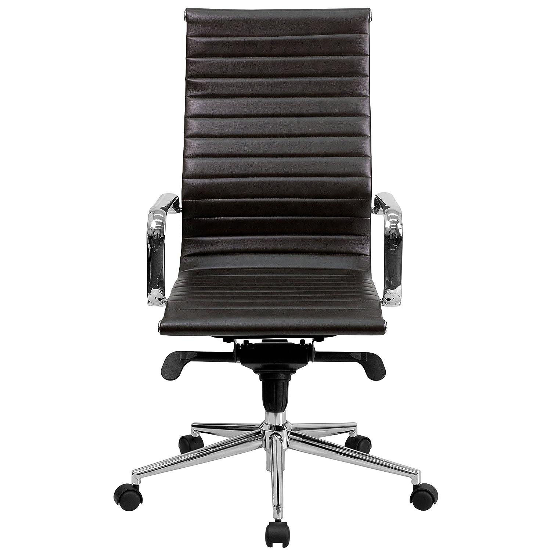 Amazon.com: Flash Furniture High Back Brown Ribbed Leather Executive ...