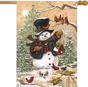Briarwood Lane Winter Friends Primitive House Flag Snowman Cardinals 28