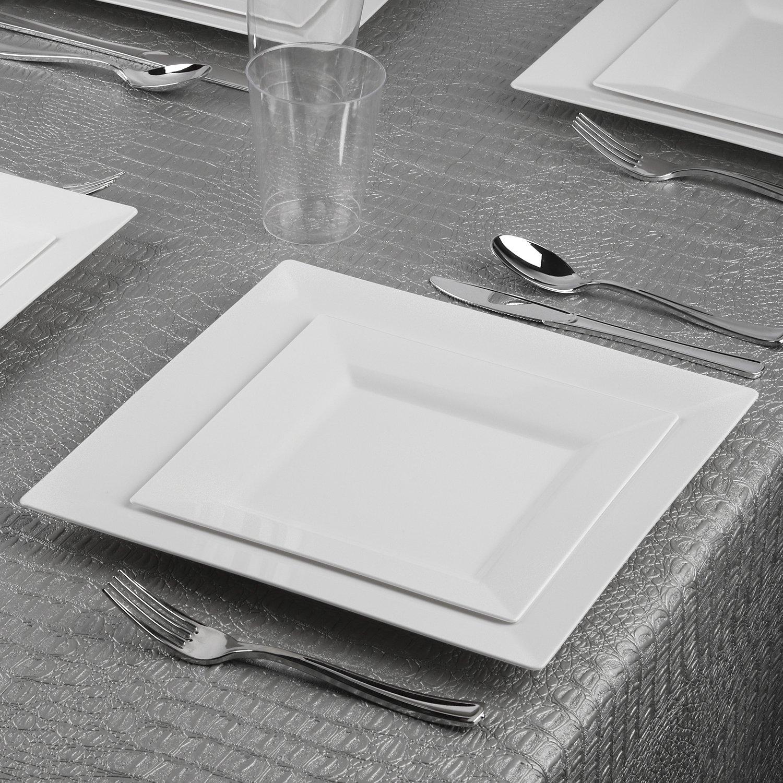 Kaya Collection sqrwht107120 Disposable Dinnerware