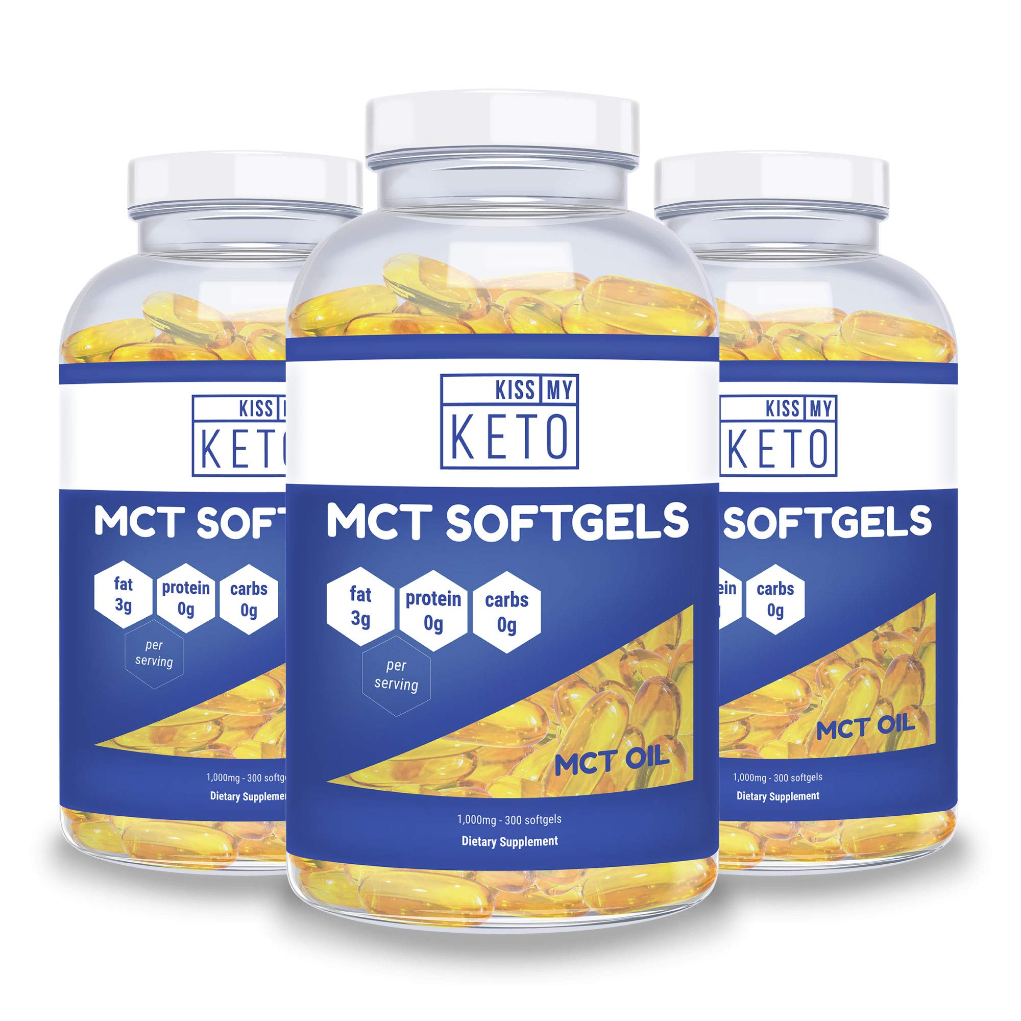 Kiss My Keto MCT Oil Capsules - Coconut Oil Softgel Pills, 300 Count, MCT Pills, Best MCT Oil Keto Ketogenic Diet. Caprylic Acid C8 & C10 Medium Chain Triglycerides Diet Keto Supplement (3 Pack) by Kiss My Keto