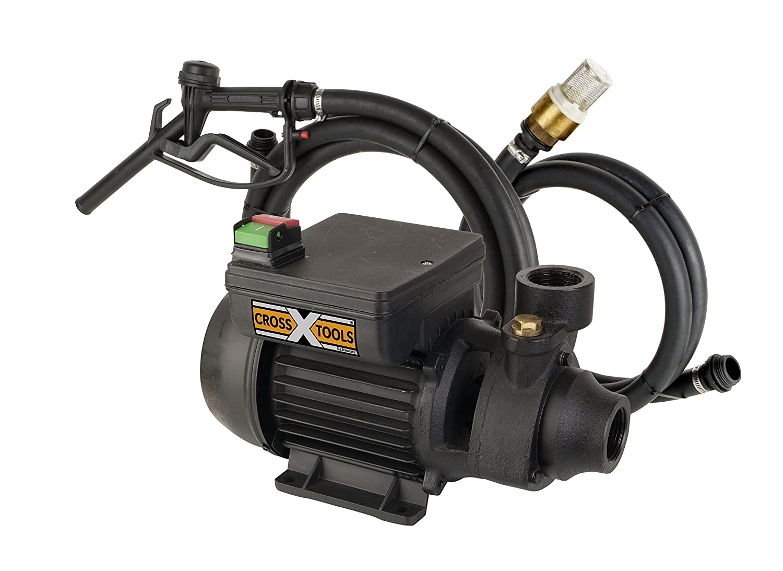 Cross Tools 68800Pompe Carburant diesel Pompe ölförderpumpe MultiOil 35M avec garniture de tuyau et pistolet de distribution, jusqu'à 2100L/H Débit jusqu'à 2100L/H Débit