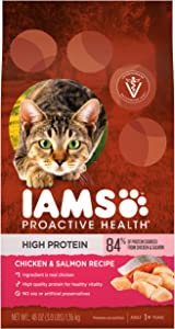 IAMS PROACTIVE HEALTH High Protein Adult Dry Cat Food with Chicken & Salmon Cat Kibble, 3 lb. Bag