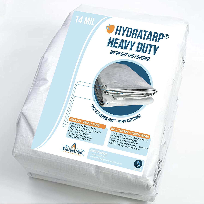 Heavy Duty Tarps Tarpaulin Blue//Brown Reversible 12ft x 16ft 2 Pack