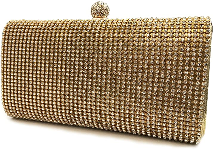 Hotstylezone Shimmering Silver Gold Diamante Encrusted Evening bag Clutch Purse Party Bridal Prom