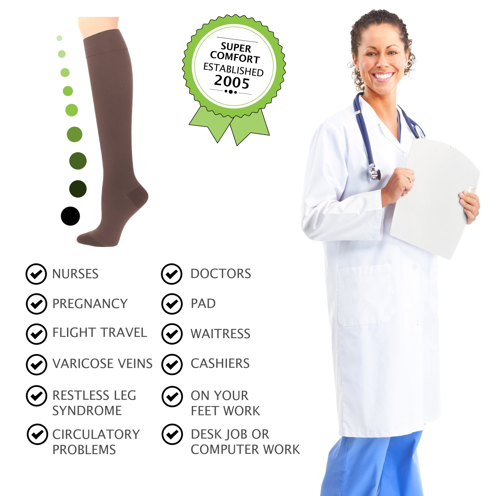 Compression Socks | Womens Brown Stockings (1 pair) | 15-20 mmHg Graduated | Sock Size 9-11 | Improve Foot Health Comfort Circulation for Nurses, Diabetes, Varicose Veins, Travel, Pregnancy