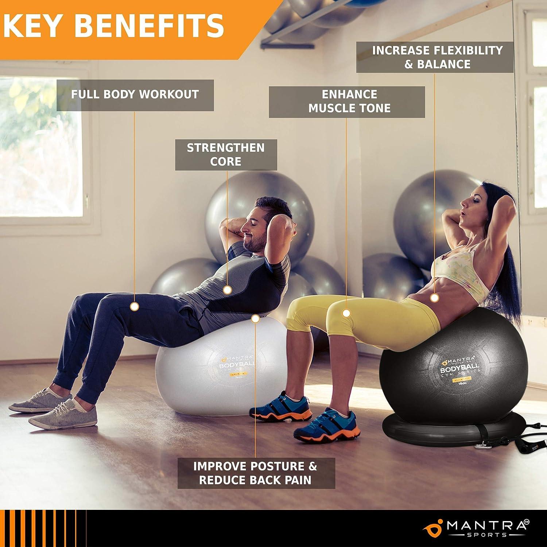 Anti Eclatement Epais Swiss Ball Ballon Grossesse Balle de Fitness 55 cm // 65 cm // 75 cm Pour Pilates Yoga Affiche des Exercices et Pompe Antid/érapant Sport Ou Chaise Ballon De Bureau Gym