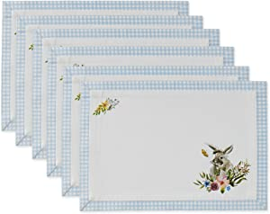 DII Easter Basics Collection Tabletop, Placemat Set, Garden Bunny 6 Piece
