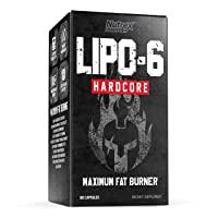 Nutrex Research Lipo-6 Hardcore Weight Loss Supplement, Appetite Suppressant, Diet Pills, Fat Burner Capsules – 60 Count