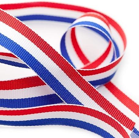 TRIXES 45 m x 10 mm Carrete Cinta de Nylon Decorativa Tricolor Francesa Rojo Blanco Azul para el Día de la Bastilla Artes Artesanías Banderas Patrióticas Celebraciones Nacionales: Amazon.es: Hogar