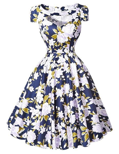 Belle Poque® Mujeres Hollowed Vintage cóctel Swing vestidos de manga corta