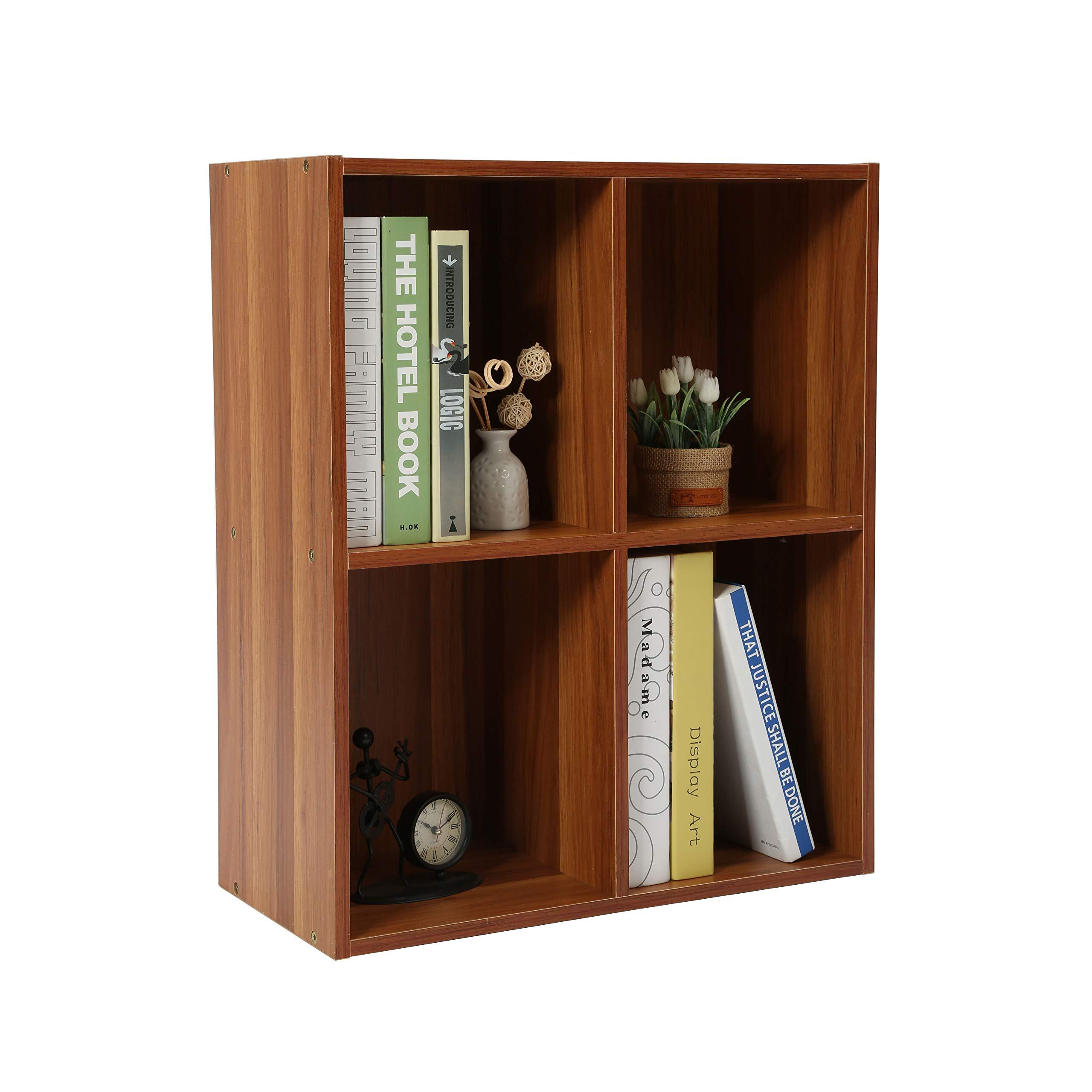 Homebi 4-Cube Bookshelf DIY Bookcase Wood Storage Cabinet Freestanding Organizer Display Shelving Unit for Bedroom,Living Room,Study Room and Office,19.69'' Wx9.45 Dx23.62 H (Walnut)