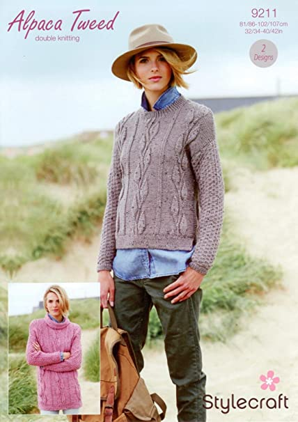 701c6973c Stylecraft 9211 Knitting Pattern Sweaters in Stylecraft Alpaca Tweed DK   Amazon.co.uk  Kitchen   Home