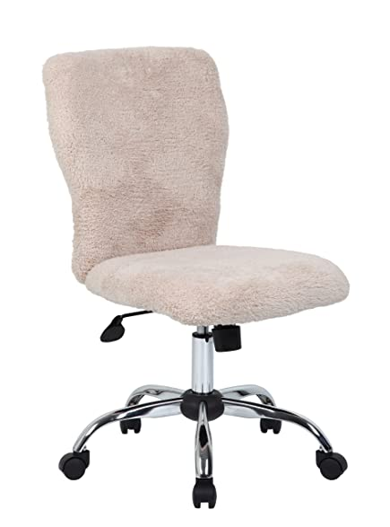 boss office products b220fcrm tiffany fur makeup modern office chair in cream