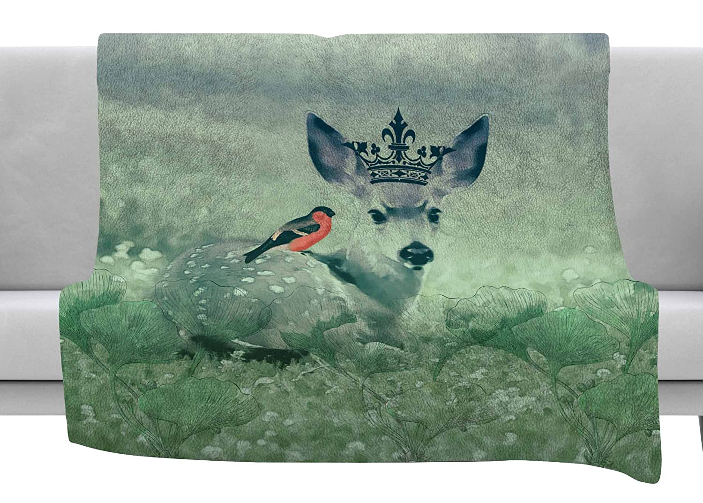 Kess InHouse Suzanne Carter The Night Meadow Green Brown Throw 80 x 60 Fleece Blanket