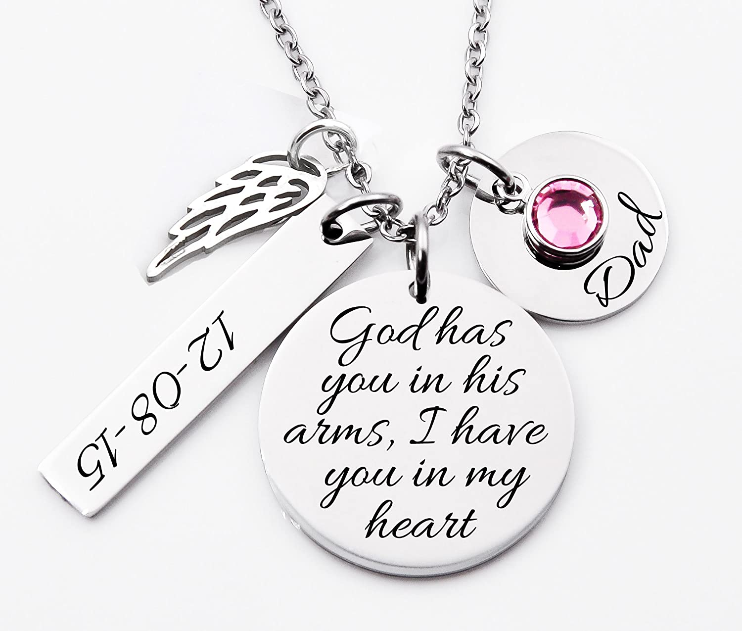 Memorial Dad//Mom//Loved One Necklace Personalized Sterling Silver