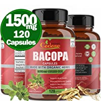Organic Bacopa Monnieri Powder Capsules 1500mg with High Potency Extra Strength| Anxiety and Stress Relief Memory Focus| Support Brain Brahmi Extract Herbs| Skin Care, Weight Loss Supplements,120 Caps
