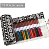 Amerzam Pencils Canvas Pencil Wrap,72 Colored Pencils Roll Pouch Case Holder