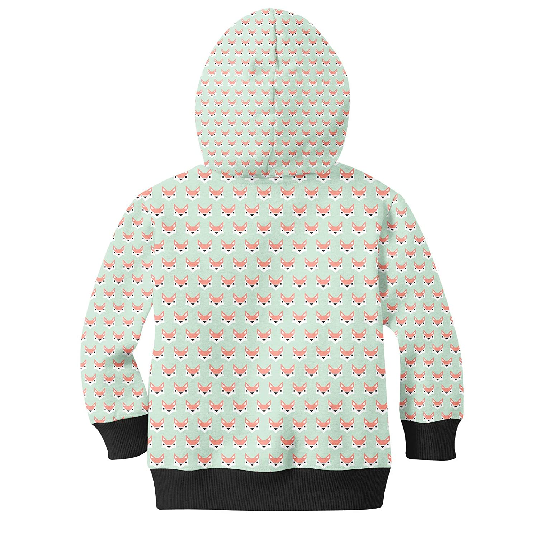 Geometric Fox in Pastel Kids Zip Up Hoodie Unisex