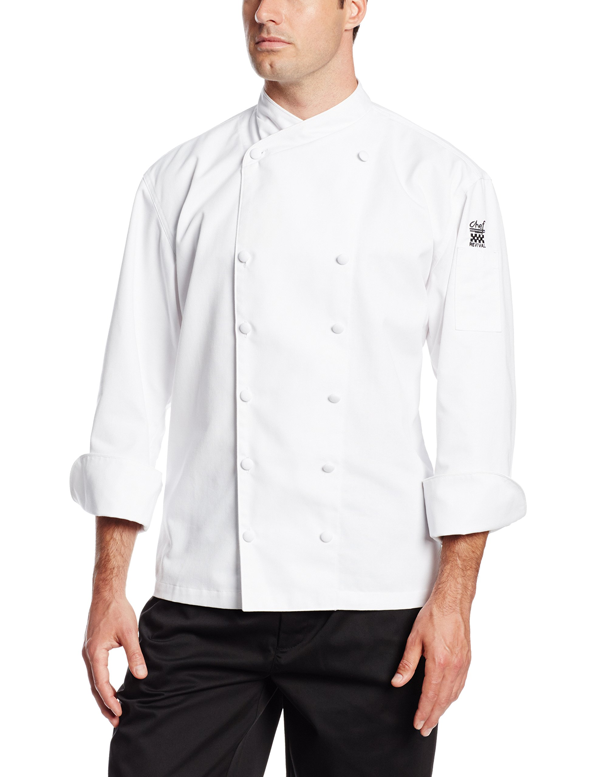 Chef Revival J006 Chef-Tex Poly Cotton Corporate Chef Jacket with White Piping and Cloth Covered Button Style, 4X-Large, White by Chef Revival