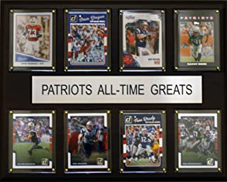 """product image for C&I Collectables NFL New England Patriots Mens 1215Nepatsatgnfl 12""""X15"""" New England Patriots All-Time Greats Plaque, Brown, N/A"""