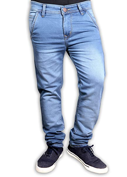 0249bd7e88 black warrior Light Blue Colored Denim Casual Faded Jeans for Men s   Amazon.in  Clothing   Accessories