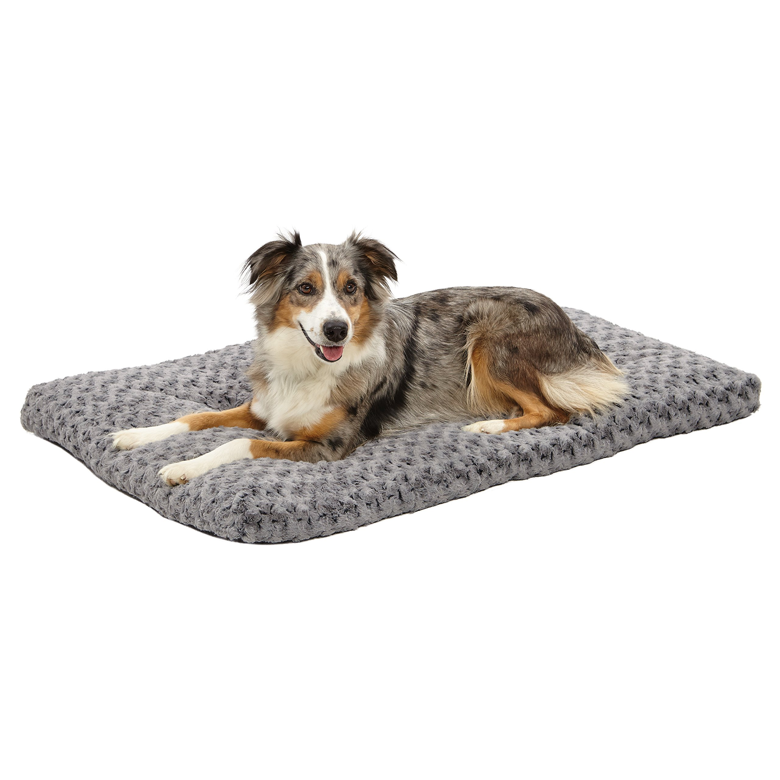 Plush Dog Bed   Ombré Swirl Dog Bed & Cat Bed   Gray 40L x 27W x 2.5H - Inches for Large Dog Breeds