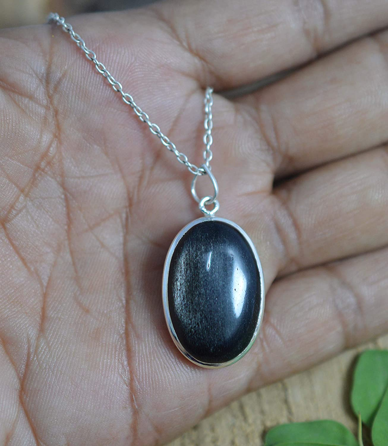 VICTORIANJEWELS 925 Solid Sterling Silver Black Onyx Chain Pendant 16.3 INCH