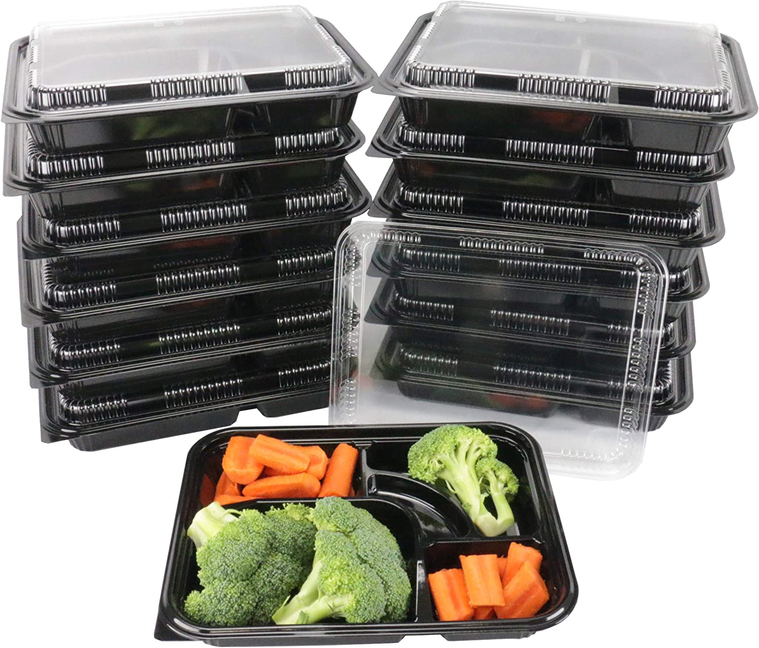 EquipmentBlvd Black Plastic 5 Compartment Japanese Bento Box Food Container with Clear Lid, TZ-306 (200 count)