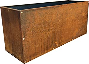 DIY CARTEL Corten Steel Rectangular Planter Box   Modern Farmhouse Rustic Design   Outdoor Metal Trough Raised Garden Bed for Commercial & Residential Use (36in x 12in x 16in)