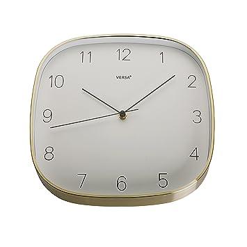 Versa 18560390 Reloj de pared de cocina Dorado, 29x4,3x29cm, Aluminio, Blanco: Amazon.es: Hogar