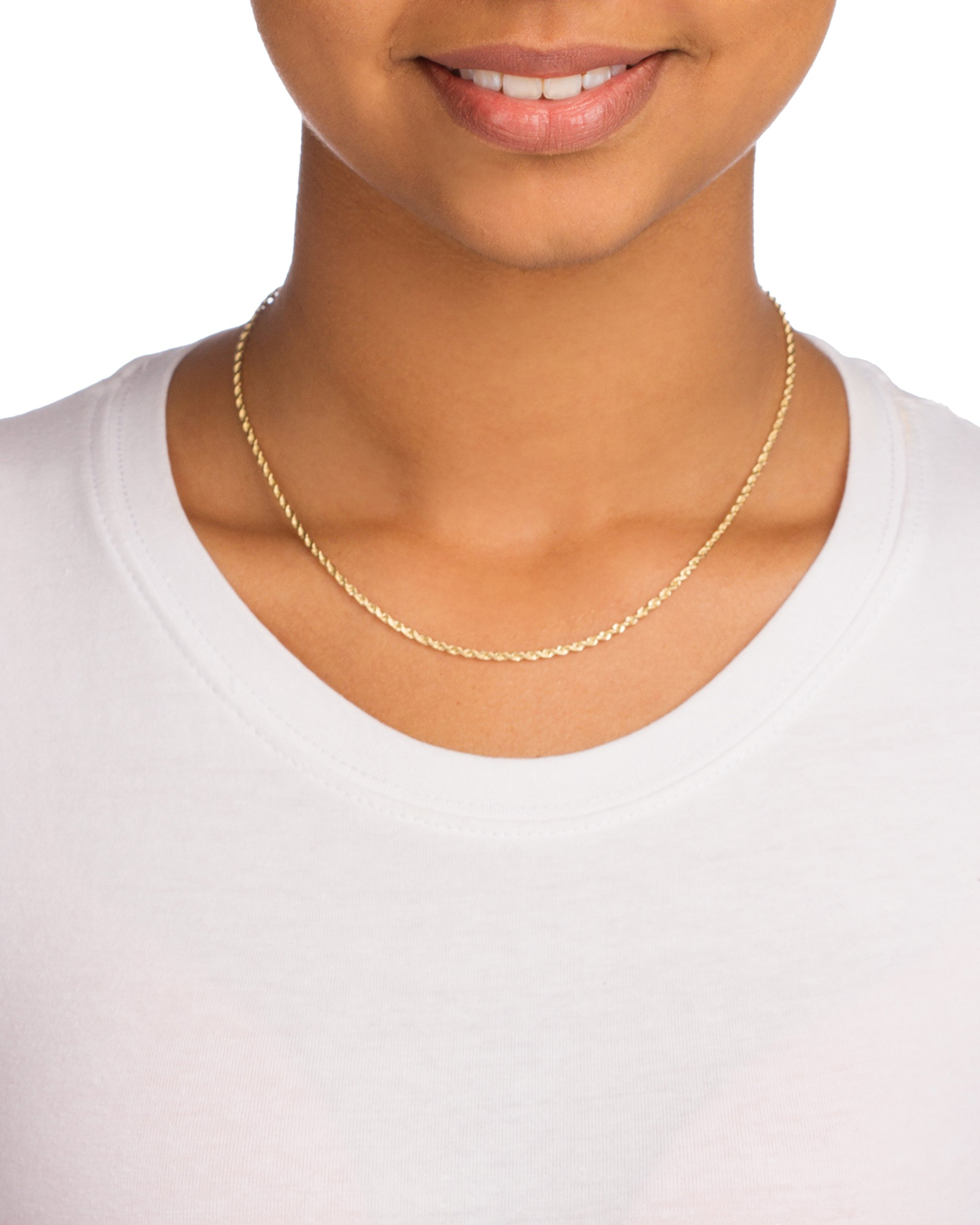 10K Yellow Gold 2mm D-cut Rope Chain Necklace - 16'' 18'' & 20'' Available (16 I.. by JOTW (Image #4)