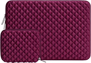 MOSISO Laptop Sleeve Compatible with 13-13.3 inch MacBook Pro, MacBook Air, Notebook Computer, Diamond Foam Neoprene Bag Cover with Small Case, Wine Red