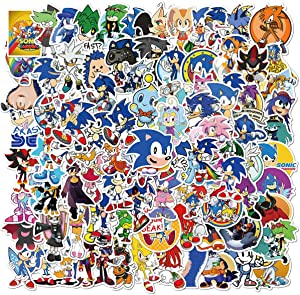100Pack Sonic The Hedgehog Game Theme Stickers Set Random Sticker Decals for Water Bottle Laptop Cellphone Bicycle Motorcycle Car Bumper Luggage Travel Case. Etc (Sonic The Hedgehog)
