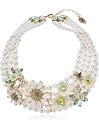 Betsey Johnson (GBG) Women's Bumble Bee Floral Pearl Torsade Necklace, Yellow, One Size