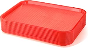New Star Foodservice 24654 Red Plastic Fast Food Tray, 12 by 16-Inch, Set of 12
