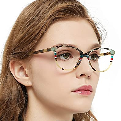 c496fec31c78 OCCI CHIARI Fashion Oval Acetate Eyeglasses Frame With Clear Lenses (Yellow  pattern