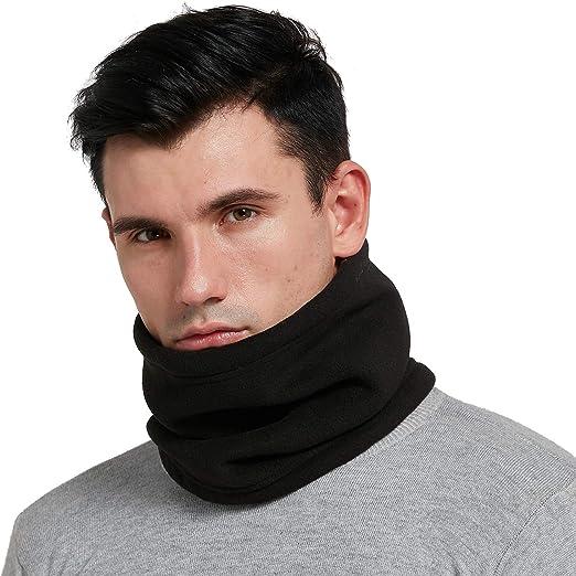 New Men/'s Polar Fleece Neck Warmer Motorbike Mask Plain Black Tube Snood Scarf