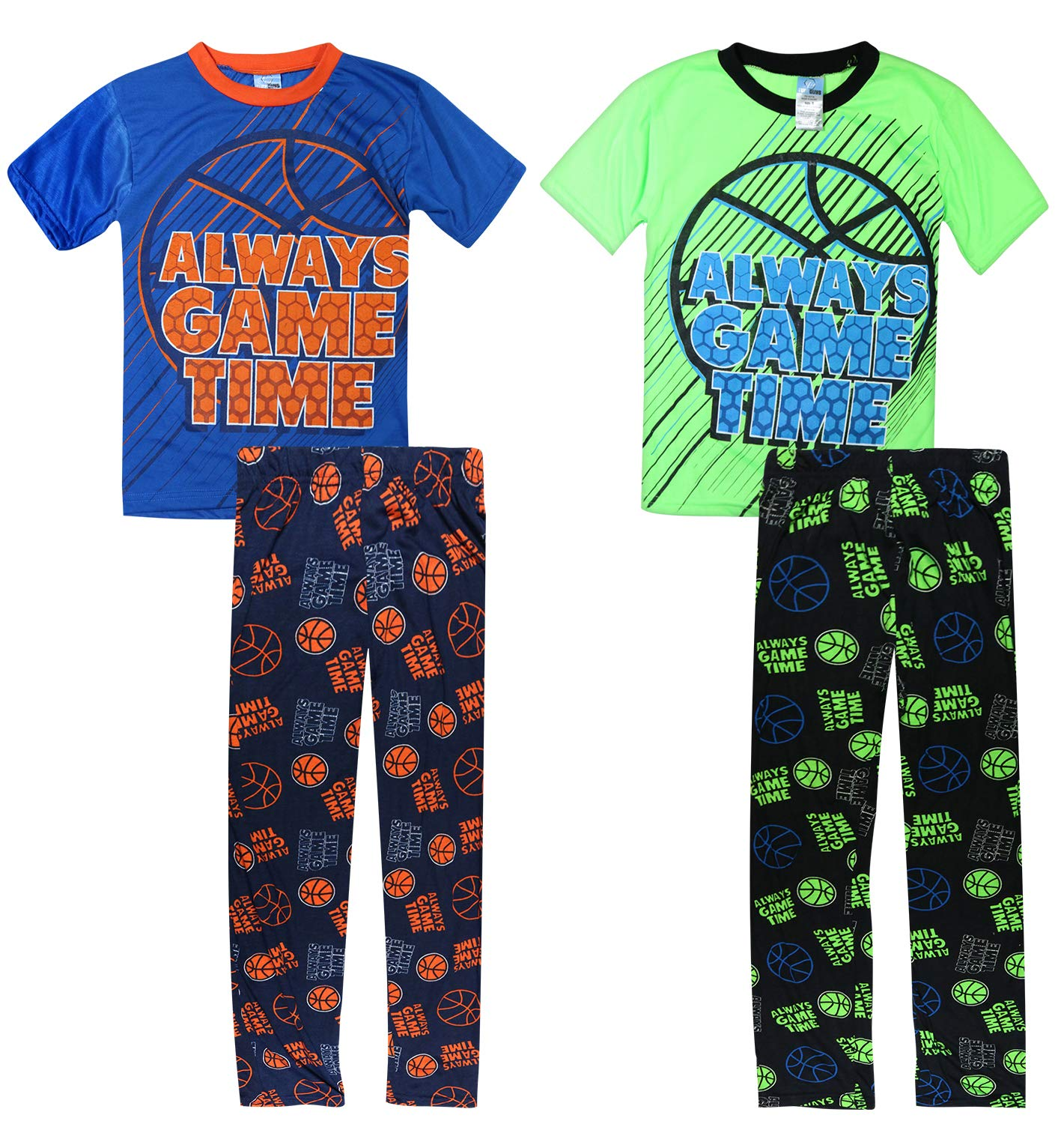Tuff Guys Boys 4-Piece Sport Themed Pajama Set with Short Sleeve T-Shirt and Matching Pants, Game Time, Size 10/12