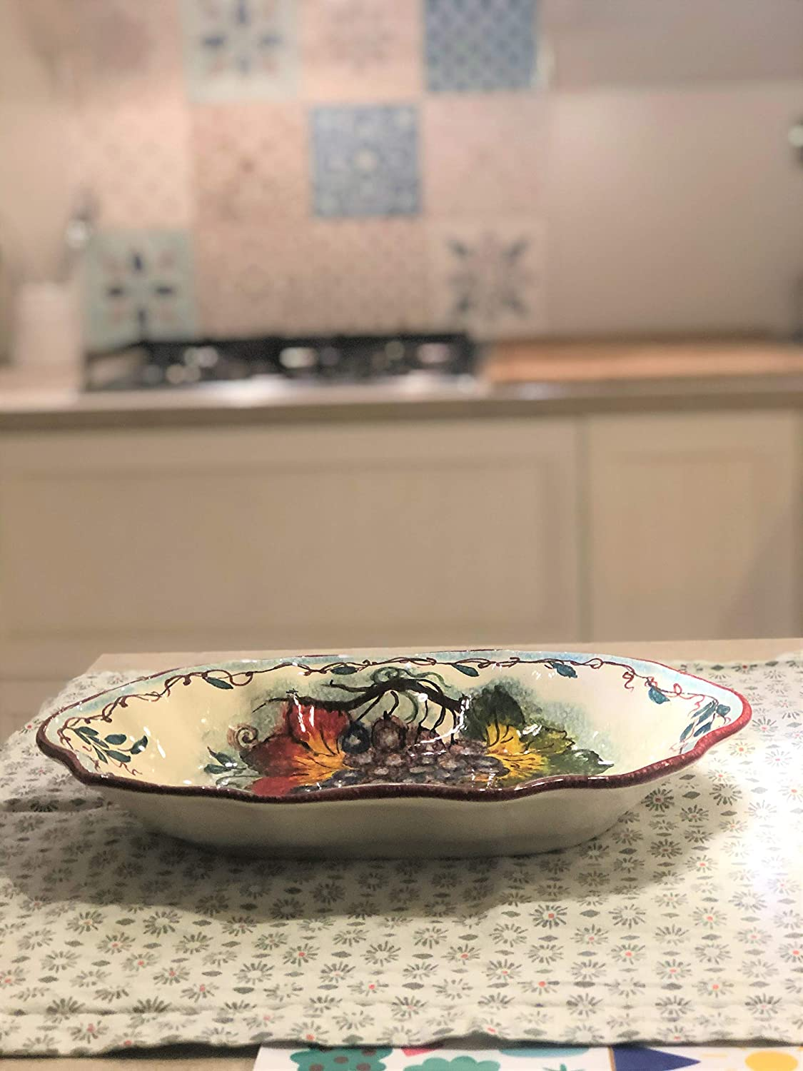 CERAMICHE DARTE PARRINI Italian Ceramic Art Pottery Serving Bowl Centerpieces Tray Plate Hand Painted Decorated Grape Made in ITALY Tuscan