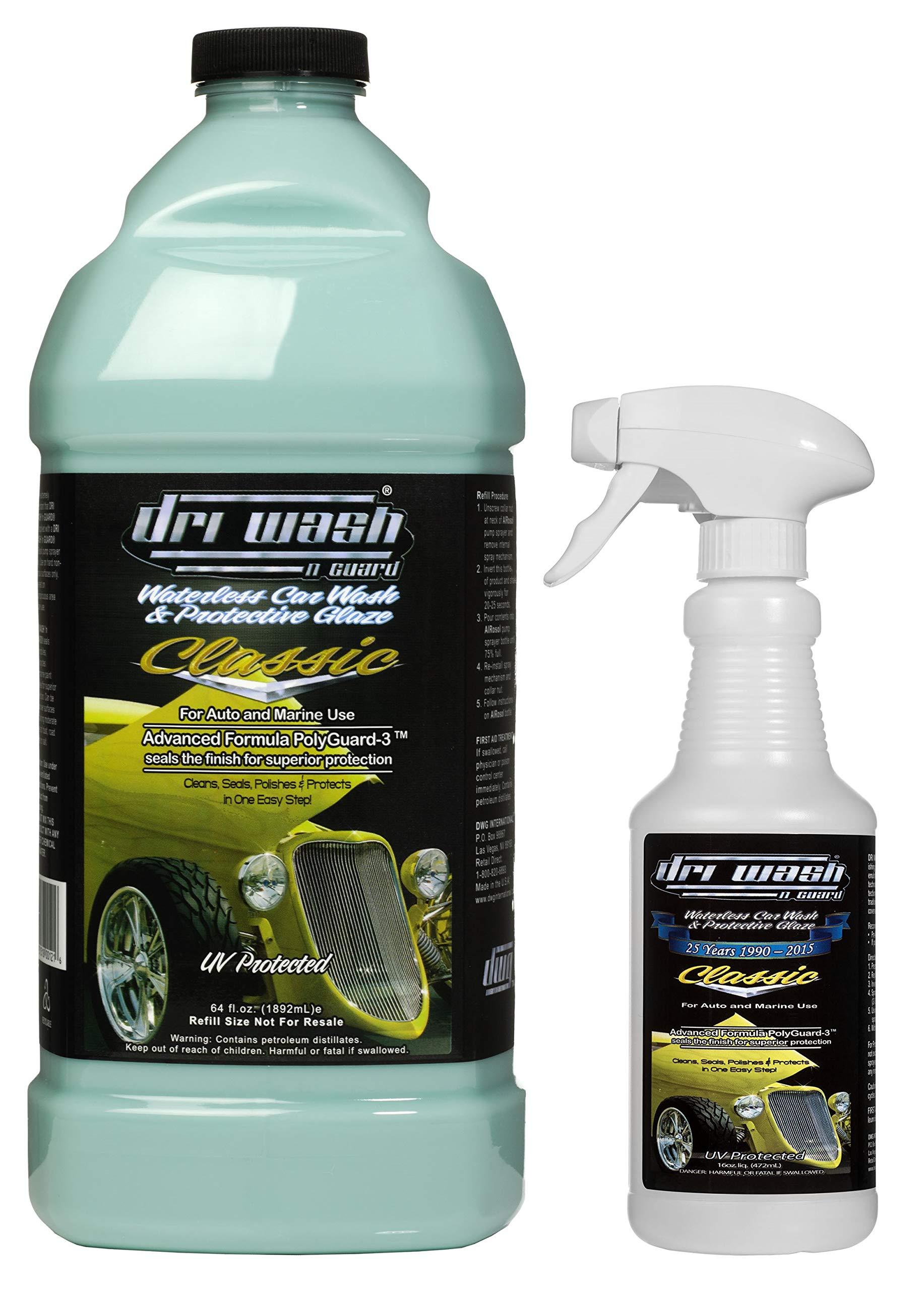 Dri Wash 'n Guard Classic 64oz Waterless Car Wash w/Empty Spray Bottle