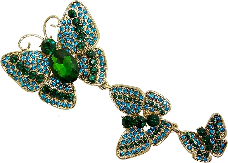 TTjewelry Pretty 3 Butterflies Austrian Crystal Rhinestone Brooch Pin