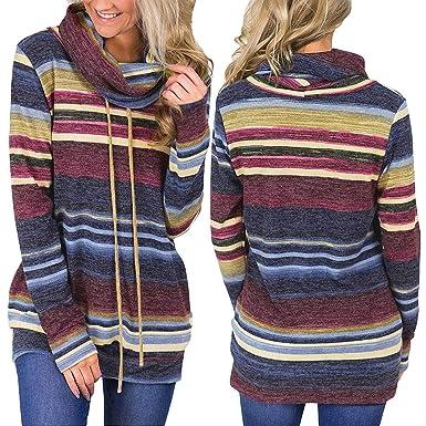 8c124bb5bf2 Amazon.com  Women Fashion Casual Stripe Print High Neck Long Sleeve Sweater  Sweatshirt Pullovers T-Shirt Top  Clothing