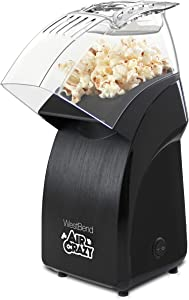 West Bend 82471B Pops Up To 4-Quarts Using Crazy Hot Air Popcorn Popper, Black