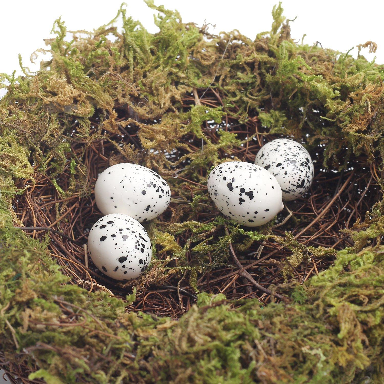 MomokoPeng Set of 2 Spring Bird Nests With Eggs,Twig Bird Nest Decorative Ornament With Clip(Green Bird's Nest) by MomokoPeng (Image #7)