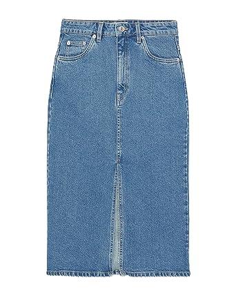 5cbaf4bed28359 Zara Femme Jupe en Jean mi-Longue 6987/007: Amazon.fr: Vêtements et ...