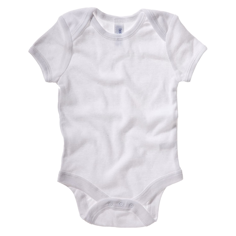 Body de manga corta acanalada unisex para beb/é Bella 3-6 meses//Blanco Lienzo