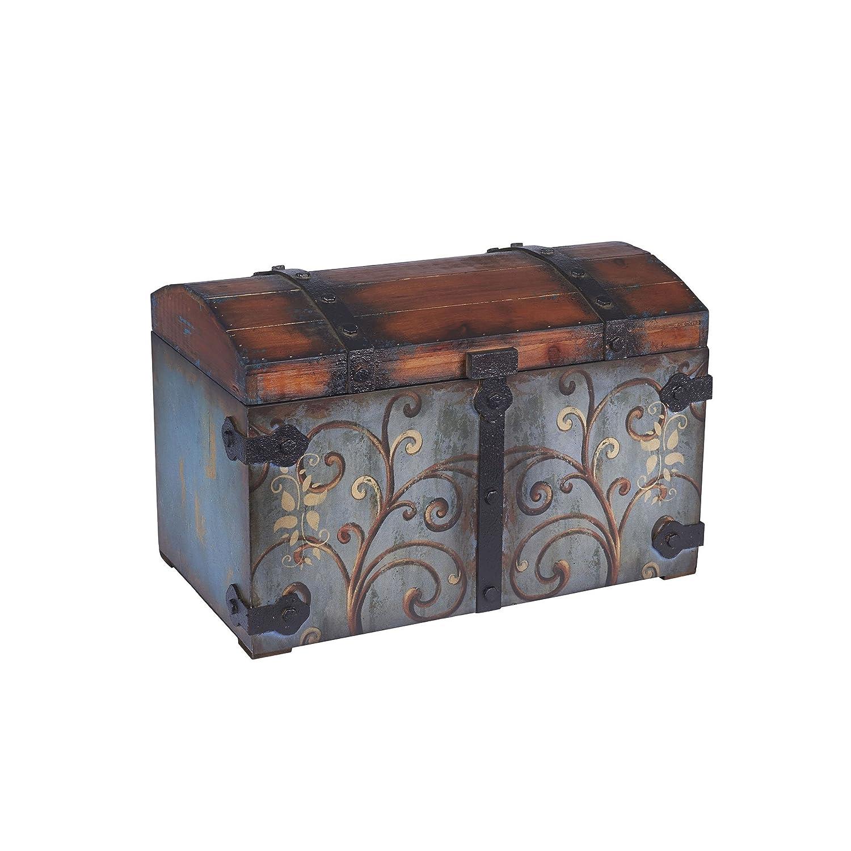 amazoncom household essentials vintage wood storage trunk large blue bodybrown lidfloral design kitchen u0026 dining