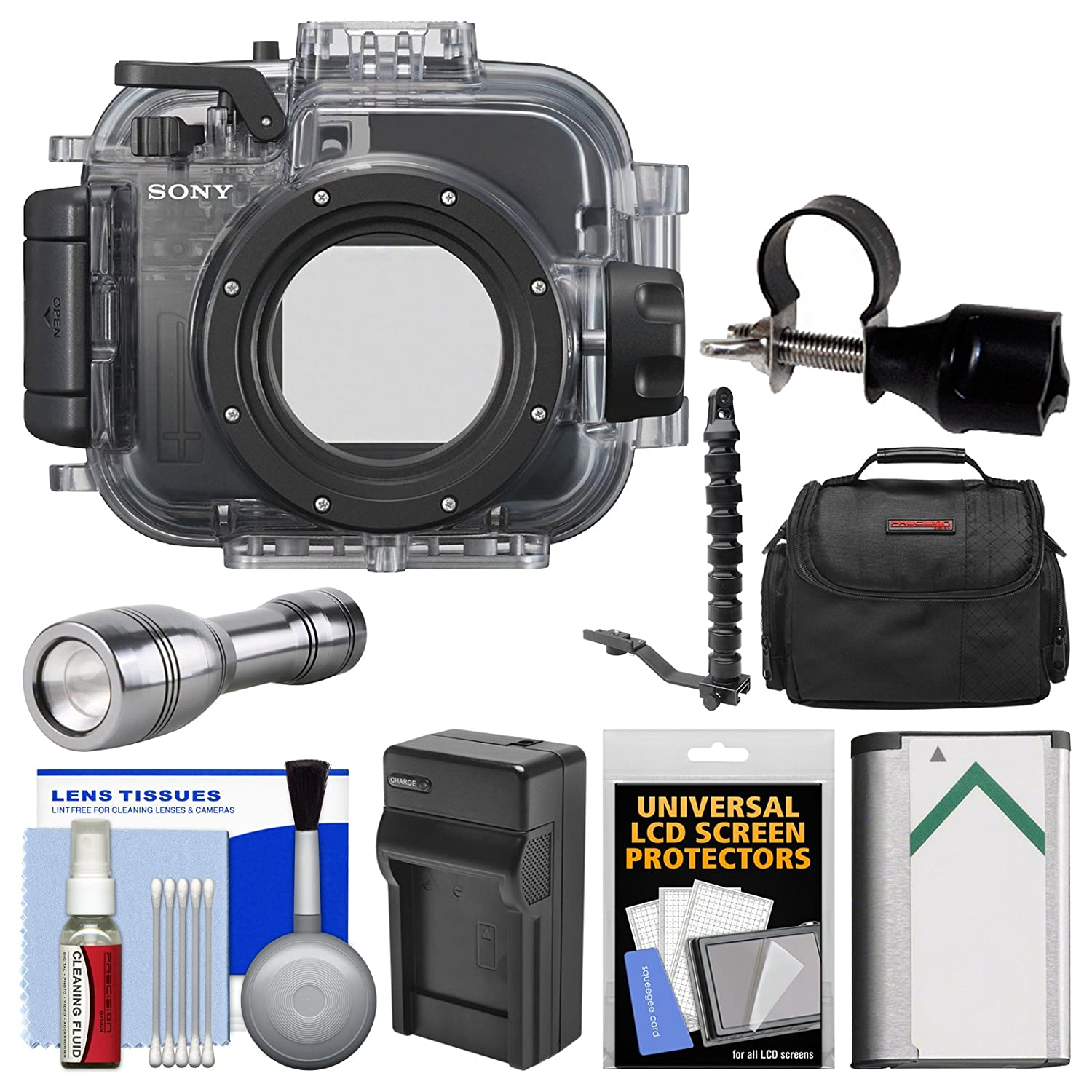 Sony MPK-URX100A Marine Underwater Housing Case for RX100, II, III, IV & V Digital Cameras with Flashlight + Flex Arm + Battery & Charger + Case Kit